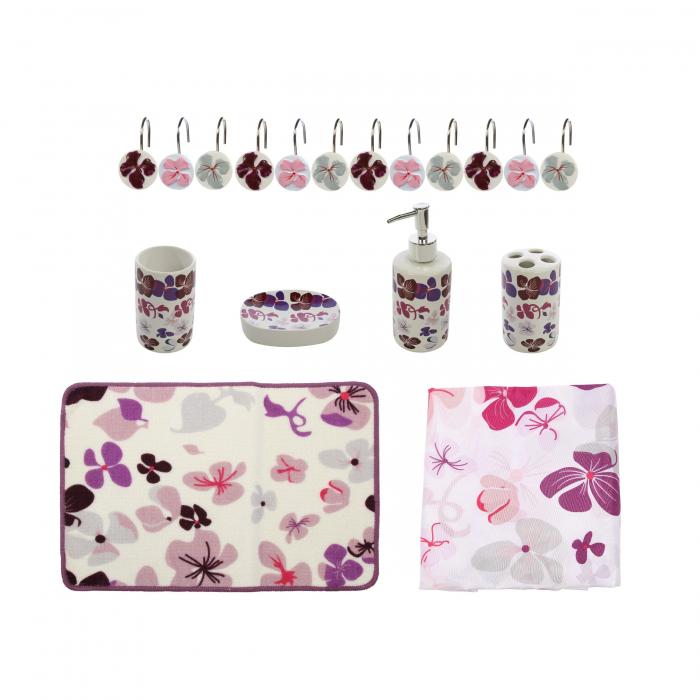 Set accesorii pentru baie, model floral mov, 18 piese 0
