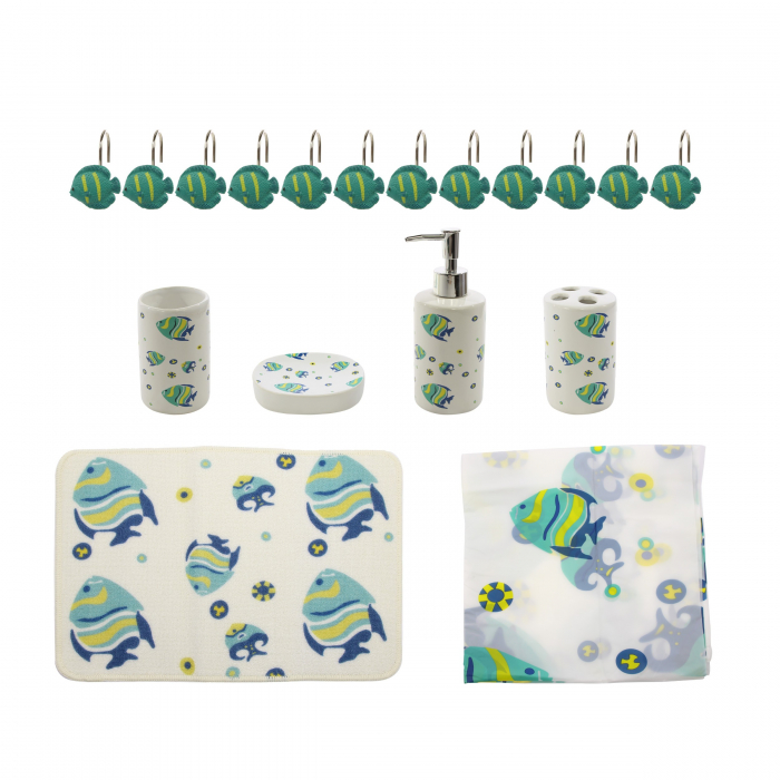 Set accesorii pentru baie, model pești, 18 piese 0