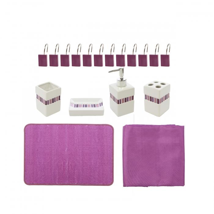 Set accesorii pentru baie, mov 18 piese 0