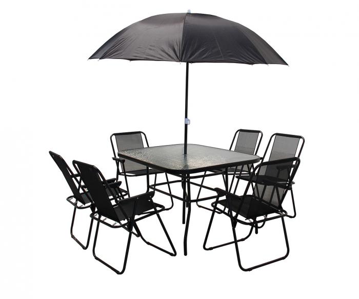 Set de mobilier pentru grădină cu 6 scaune și umbrelă 0