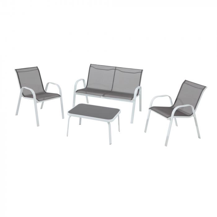 Set mobilier grădină cu 4 piese de culoare gri 0