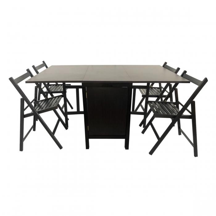 Set masă pliantă cu 4 scaune de bucătărie,wenge [0]