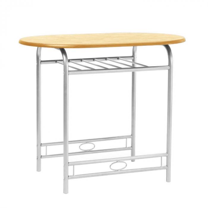 Set masă ovală fixă cu 2 scaune, bucatarie, fag, 1C 2