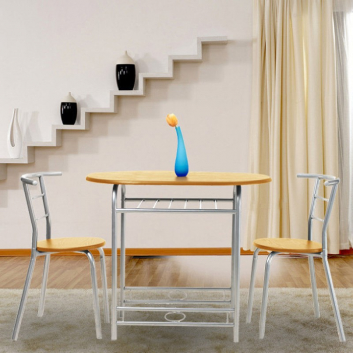 Set masă ovală fixă cu 2 scaune, bucatarie, fag, 1C 1