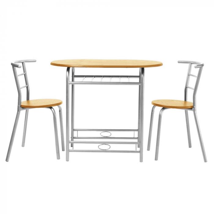Set masă ovală fixă cu 2 scaune, bucatarie, fag, 1C 0