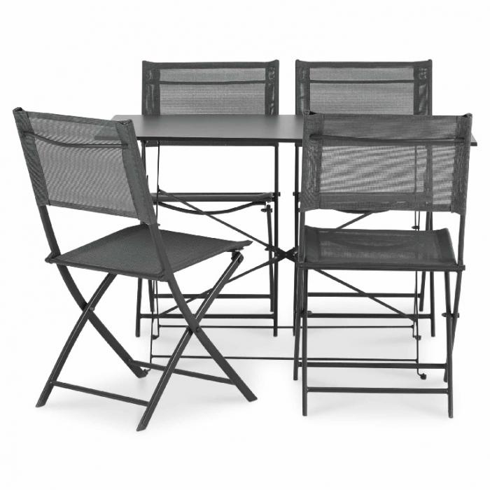 Masă de grădină cu 4 scaune metalică(gri) [0]