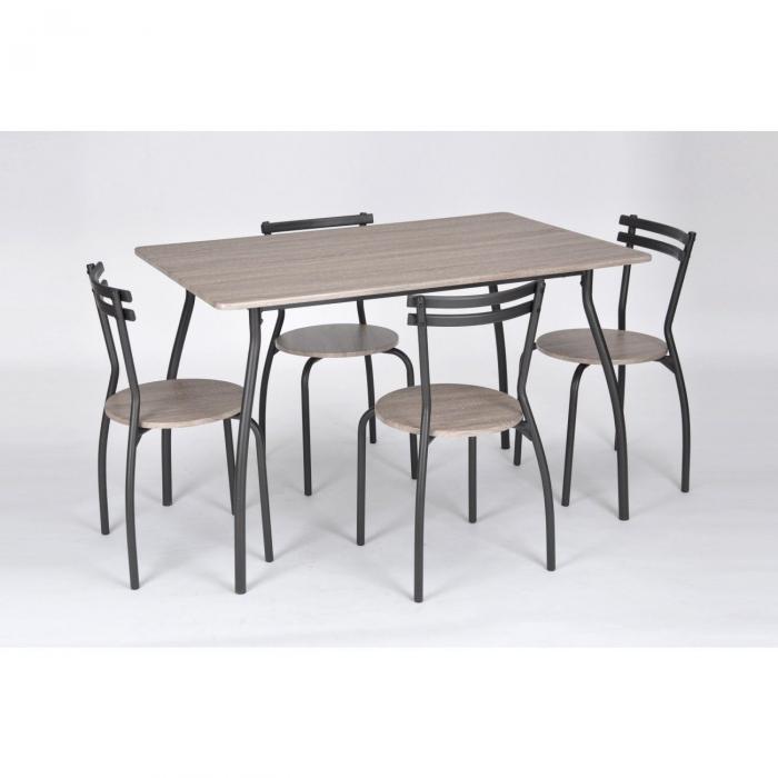 Set masă cu 4 scaune stejar antichizat, masă: 120x80x76cm, scaun: 40x44x75cm 0