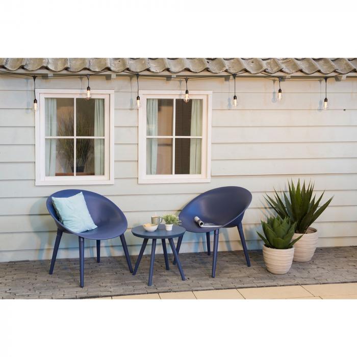 Set mobilier grădină din plastic,albastru din 3 piese 1