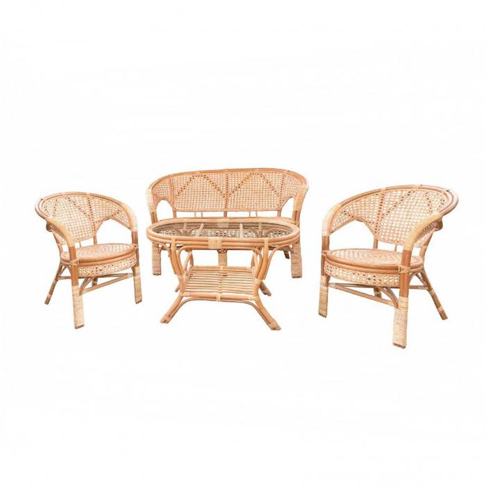 Set masă ovală  cu 2 scaune + 1 canapea  pentru grădină Pelange,rattan natural 0