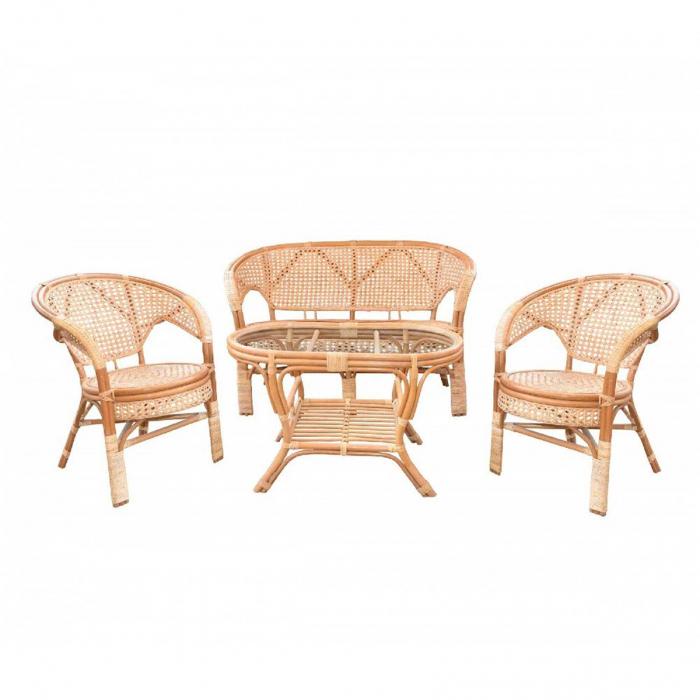 Set masă ovală  cu 2 scaune + 1 canapea  pentru grădină Pelange,rattan natural 1