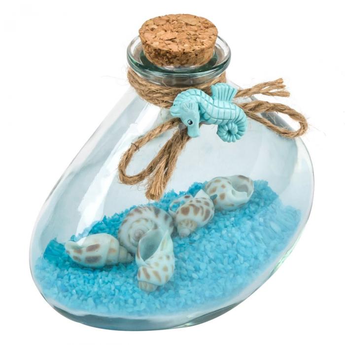 Bol decorativ cu sfoară și nisip albastru 10.5 cm 1