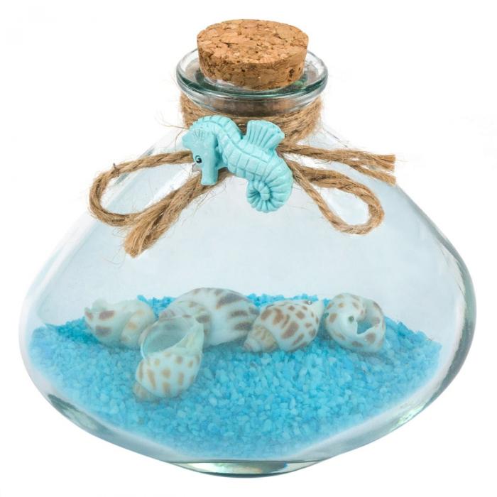 Bol decorativ cu sfoară și nisip albastru 10.5 cm 0