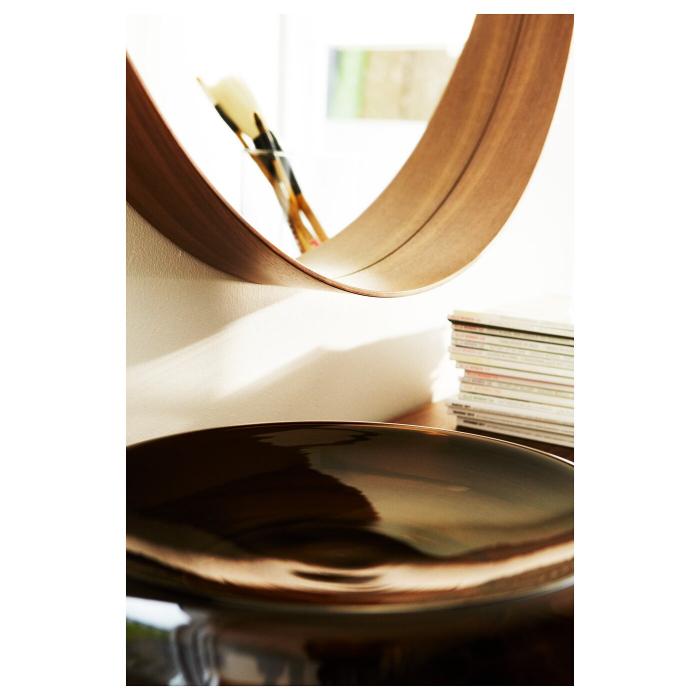 Oglindă rotunda, furnir nuc 63 cm 2