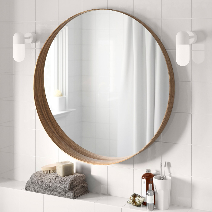 Oglindă rotunda, furnir nuc 63 cm 3