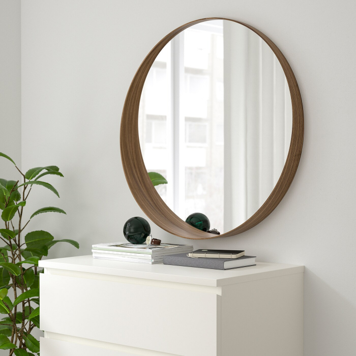 Oglindă rotunda, furnir nuc 63 cm 0