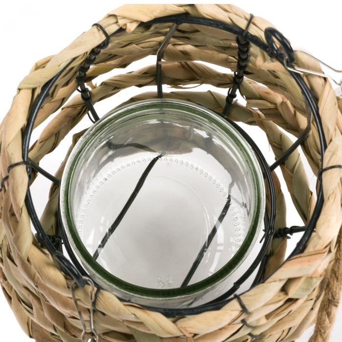 Lampă decorativă de grădină cu împletitură și suport metalic,13.5x19 cm [2]