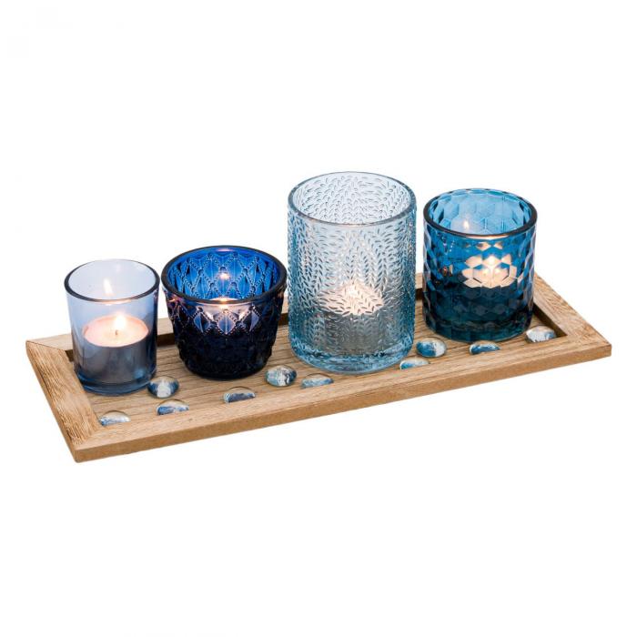 Bază pentru lumânări cu pahare cu model albastre,33x13x1.7 cm 1