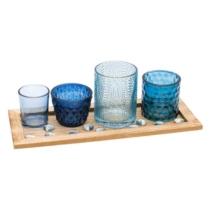 Bază pentru lumânări cu pahare cu model albastre,33x13x1.7 cm 0