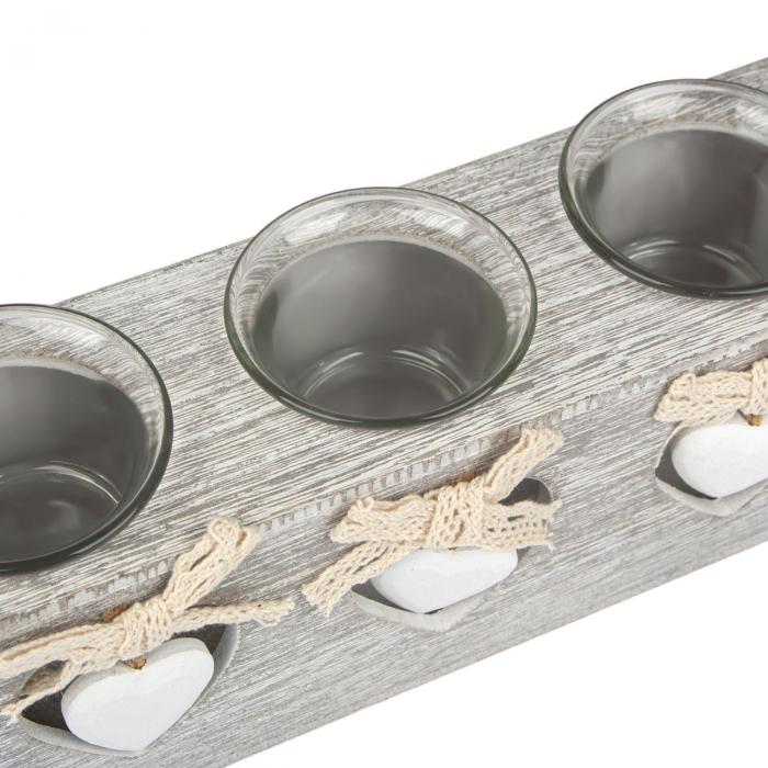 Suport  din lemn de culoare gri pentru lumânări 24x7x8 cm [1]