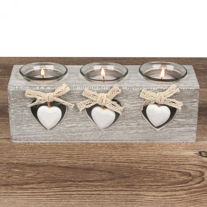 Suport  din lemn de culoare gri pentru lumânări 24x7x8 cm [2]