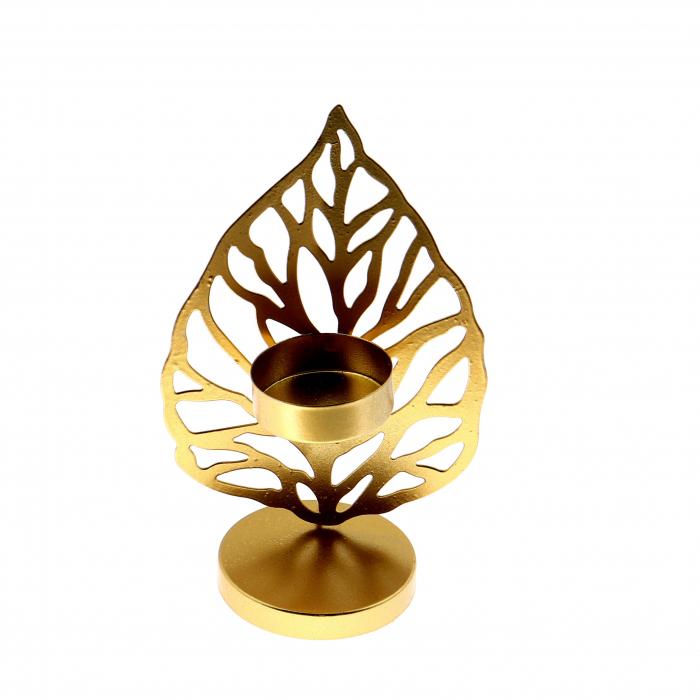 Suport de lumânare,auriu,metalic,9.5 x 6 x 15 cm 0