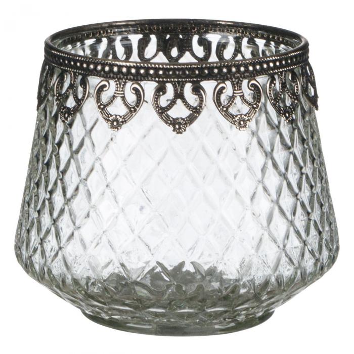 Suport pentru lumânare din sticlă 12x13,5 cm [0]