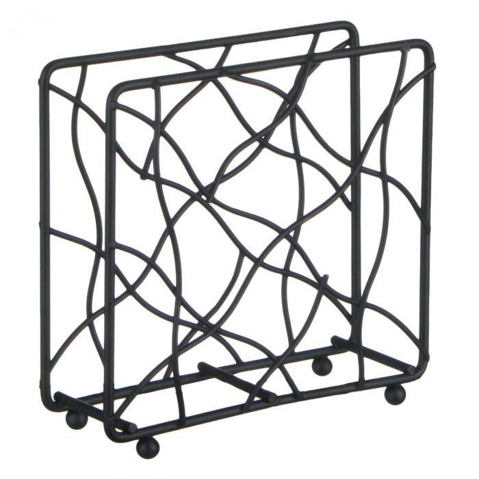 Suport negru pentru șervețele de  bucătărie-14x4.5x14 cm 0