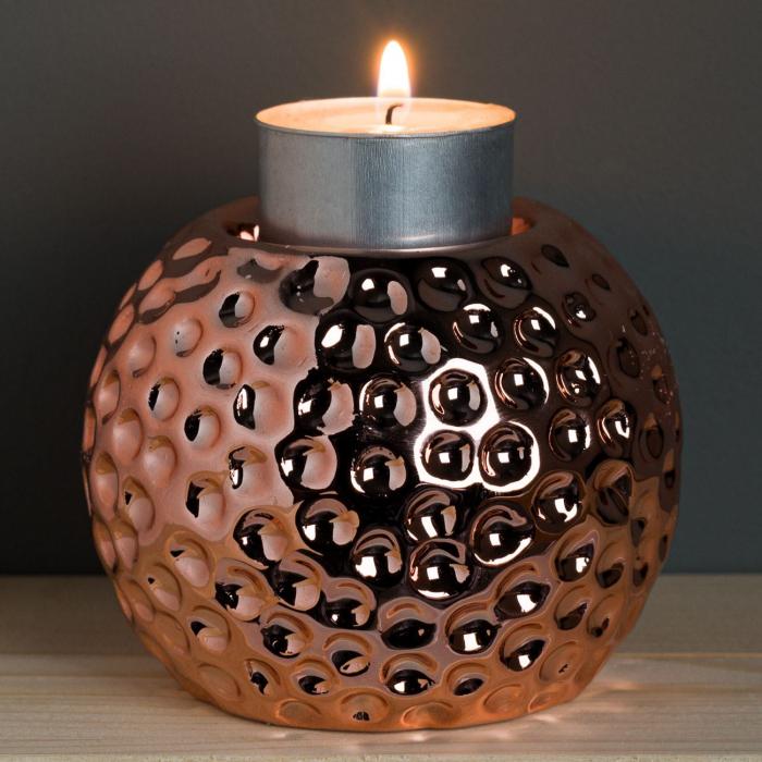 Suport din porțelan pentru lumânare,cercuri,8.5x7 cm [1]