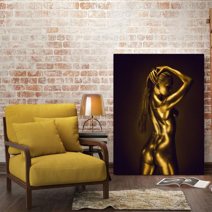 Tablou Canvas - Golden Nude Pose 2 [1]