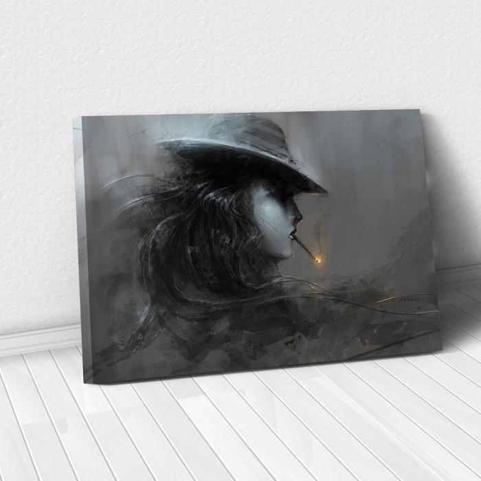 Tablou Canvas - Profil smoke alb-negru [0]