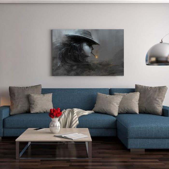 Tablou Canvas - Profil smoke alb-negru [1]