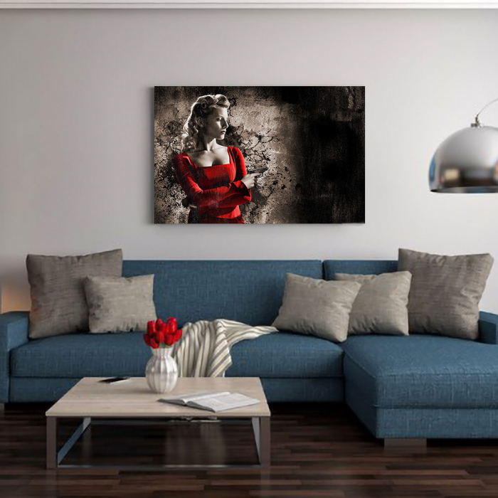 Tablou Canvas - Woman in Red 1