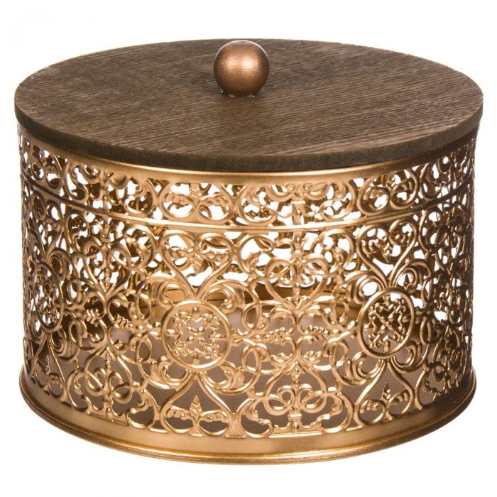 Suport cu capac din metal auriu pentru bomboane 15x12 cm [0]