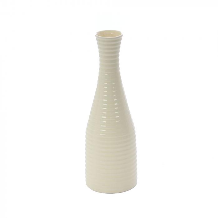 Vază decorativă bej cu model în relief 30 cm [0]