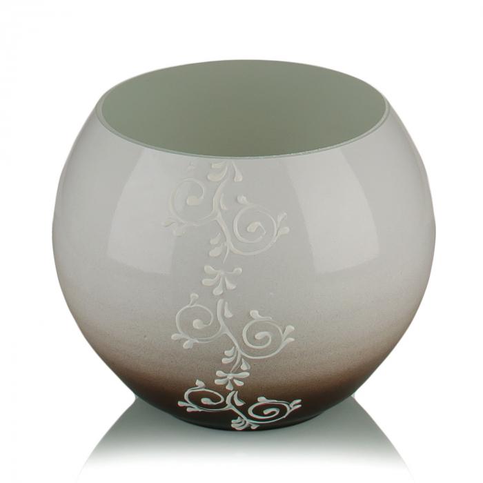 Vază sticlă decorativă(bol)alb+maro 15 x 16 cm 0
