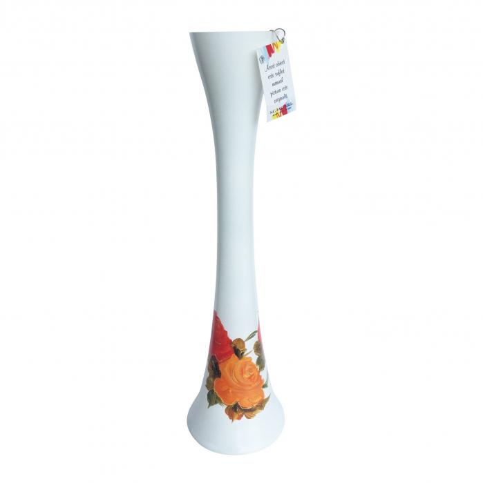 Vază Funio, sticlă pictată, albă, model trandafiri, H 50 cm [0]