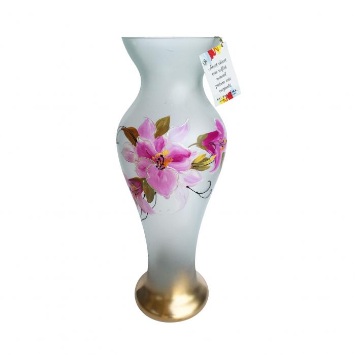 Vază Jinoli, sticlă pictată, alb, model floral, H 49 cm 0