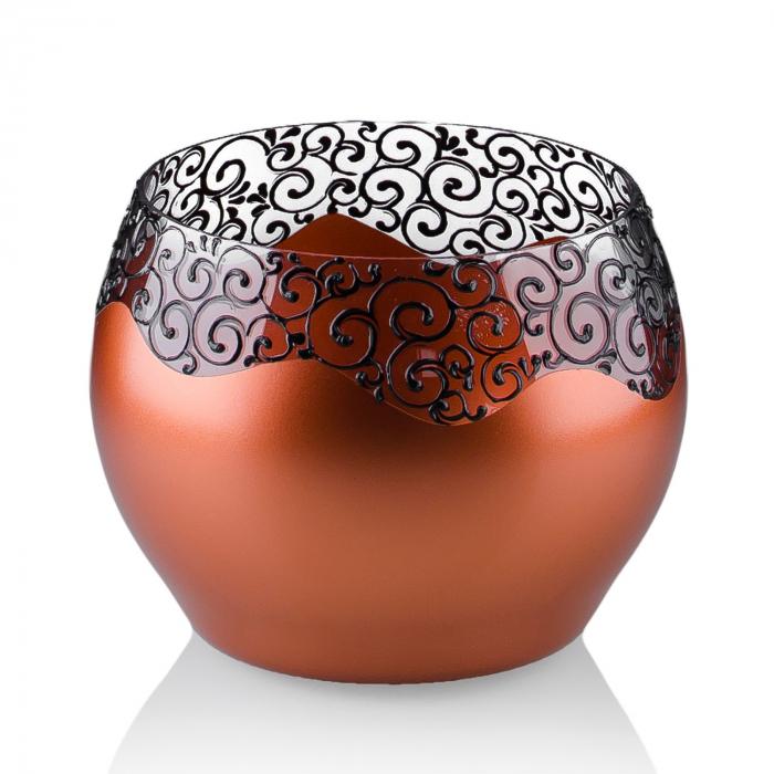 Vază decorativă tip bol,culori cupru+bronz 15 x 16 cm 0