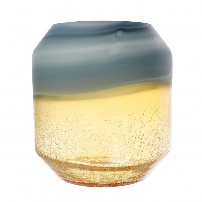 Vază din sticlă, auriu-cenușiu, 22cm 0