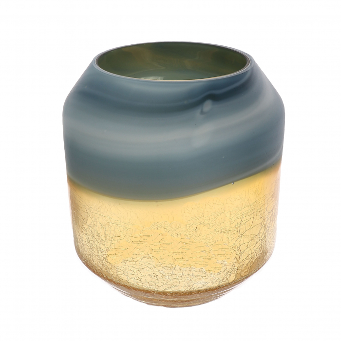 Vază din sticlă, auriu-cenușiu, 22cm 1