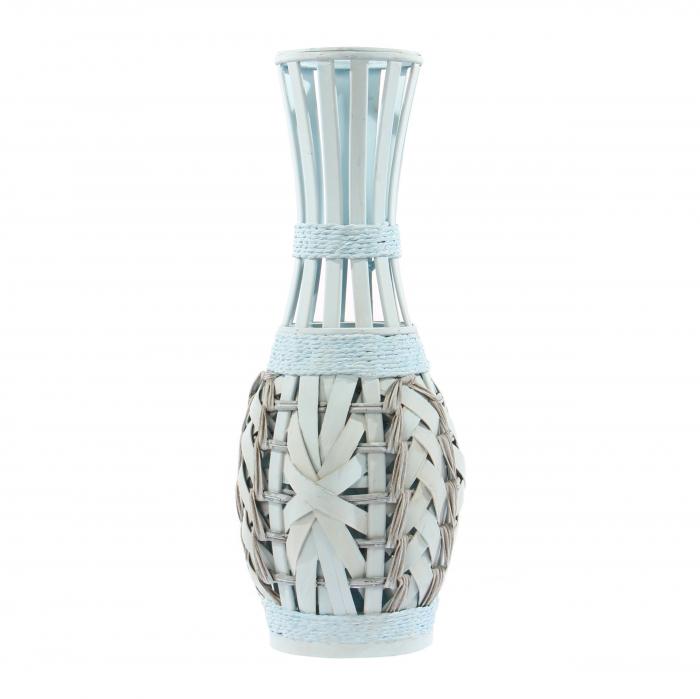 Vază decorativă din bambus albă 50 cm [0]