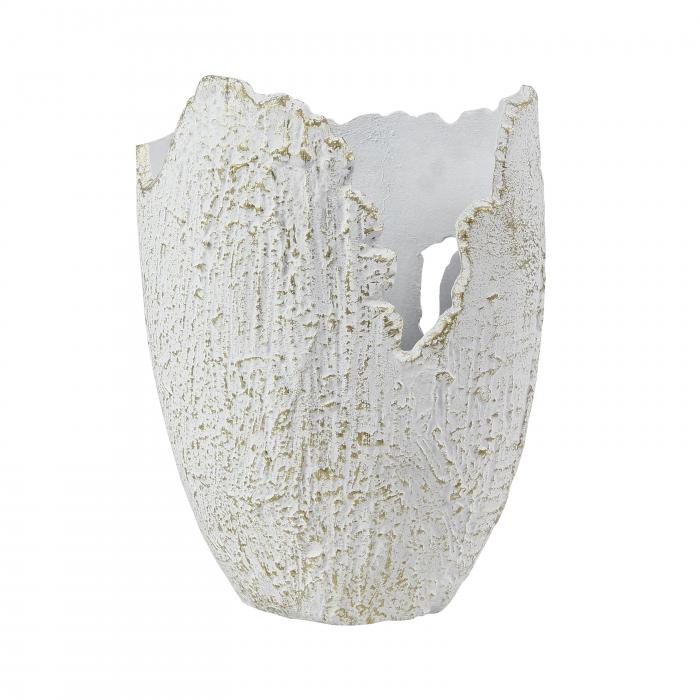 Vază decorativă Lana, din aluminiu, alb + auriu, 24 x 17 x 33 cm [0]
