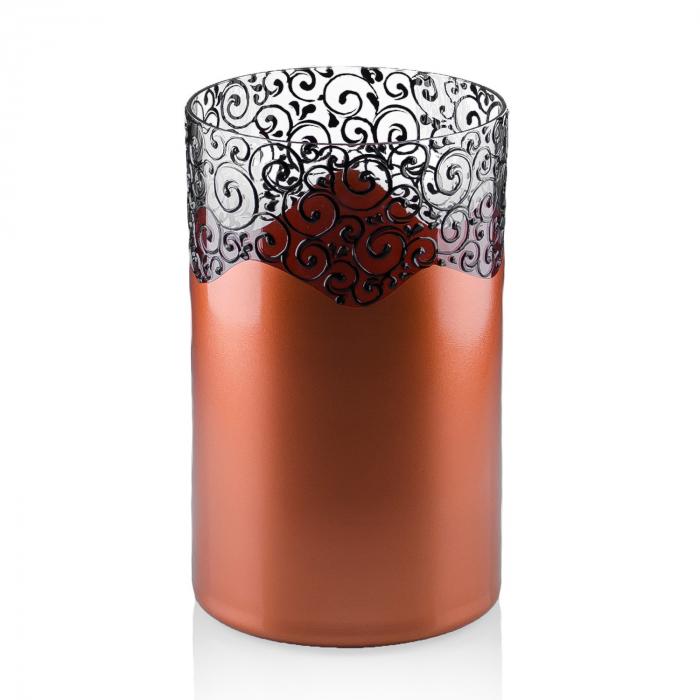 Vază decorativă,tip cilindru,culori cupru+bronz, 20 x 12 cm [0]