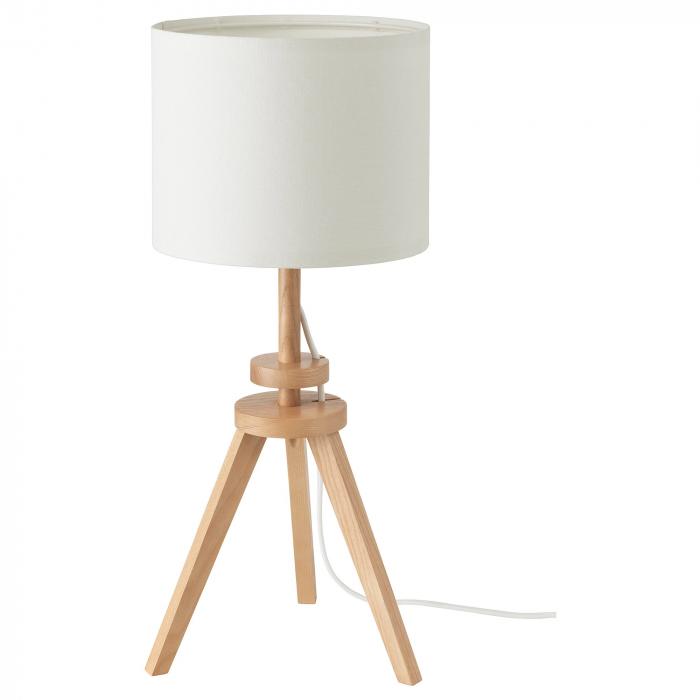 Veioză Cora cu baza din lemn, albă - 57cm 0