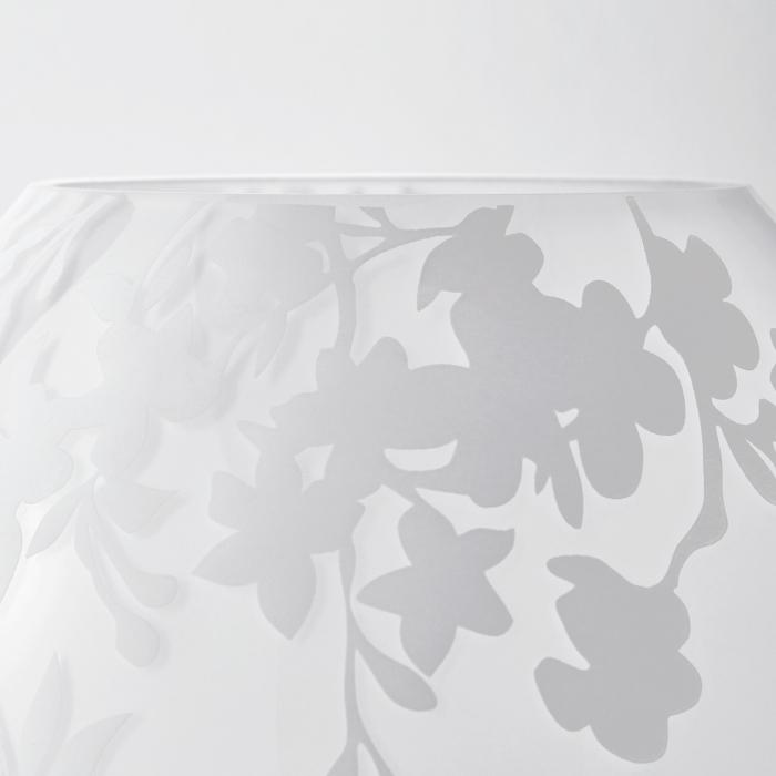Veioză decorativă cu model, sticlă, albă - 18cm 3