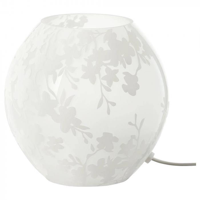 Veioză decorativă cu model, sticlă, albă - 18cm 0