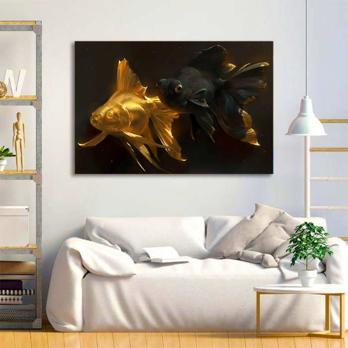Tablou Canvas - Black & Gold Fish 1