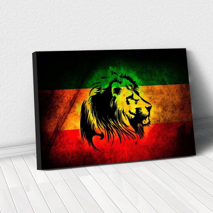Tablou Canvas - Rasta Lion 0