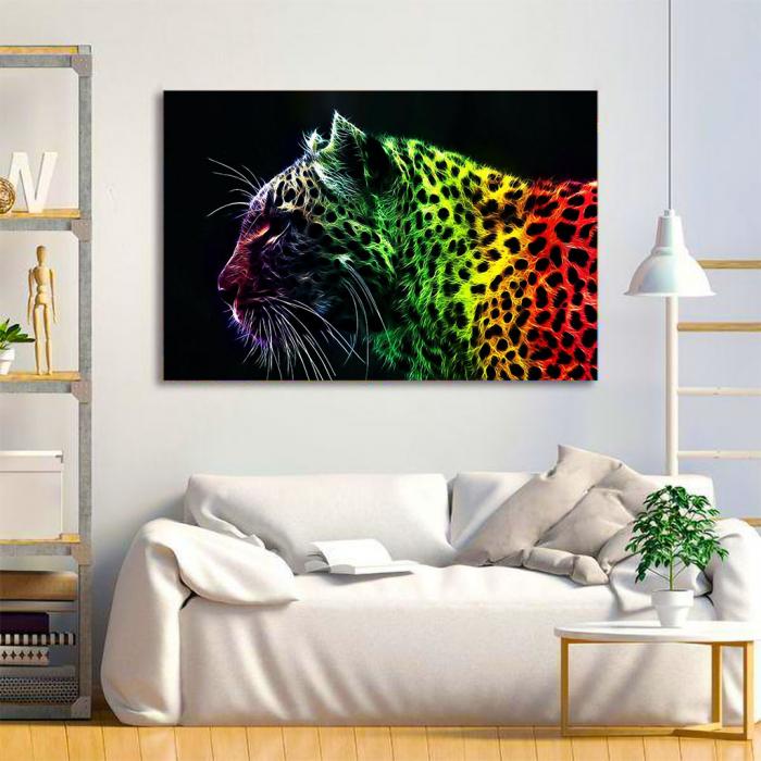Tablou Canvas - Neon leopard 1