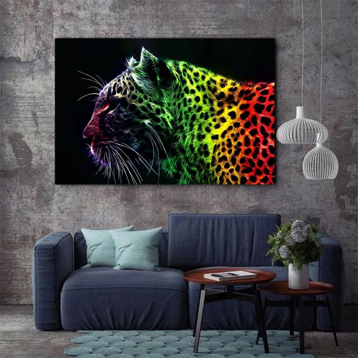 Tablou Canvas - Neon leopard 2